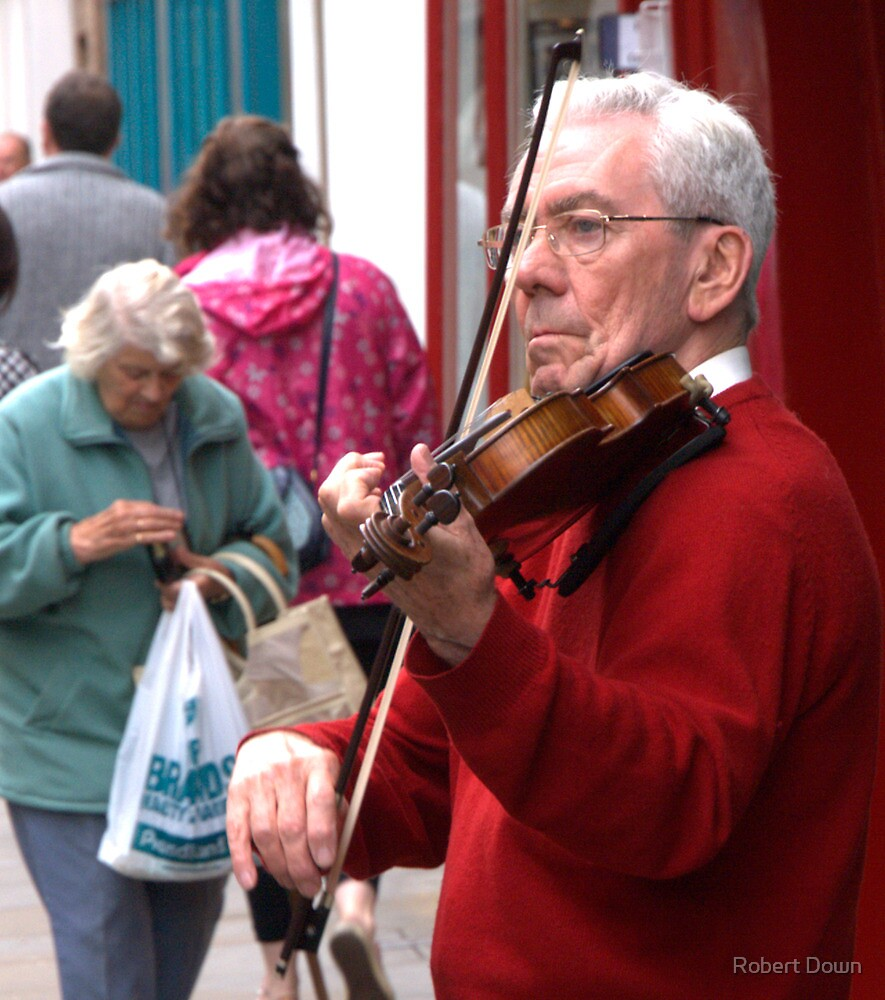 Street musician, York, England by Robert Down