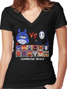 Totoro Game  Women's Fitted V-Neck T-Shirt