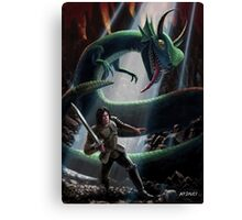 knight in battle with giant serpent Canvas Print