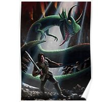 knight in battle with giant serpent Poster