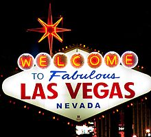 Welcome to Fabulous Las Vegas Nevada sign at night by Henry Plumley