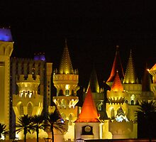 Excalibur Hotel and Casino at Night by Henry Plumley