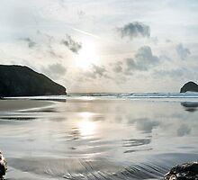 Trebarwith Strand Silver Sunset by David Wilkins