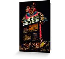 Circus Circus Neon Sign at Night Greeting Card