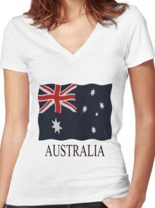 Australia flags Women's Fitted V-Neck T-Shirt