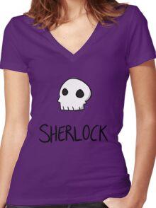 Sherlock - Black Lettering Women's Fitted V-Neck T-Shirt