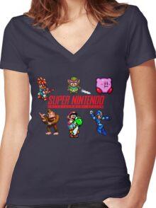 Super Nintendo Women's Fitted V-Neck T-Shirt