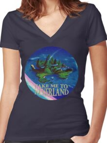 Take Me to Neverland Women's Fitted V-Neck T-Shirt
