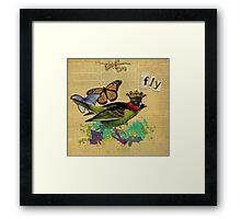 Vintage Bird Illustration Altered Art Collage Framed Print