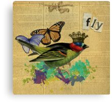 Vintage Bird Illustration Altered Art Collage Canvas Print