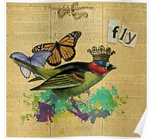 Vintage Bird Illustration Altered Art Collage Poster