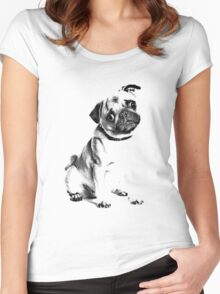 pug, i love pugs, cute pug Women's Fitted Scoop T-Shirt