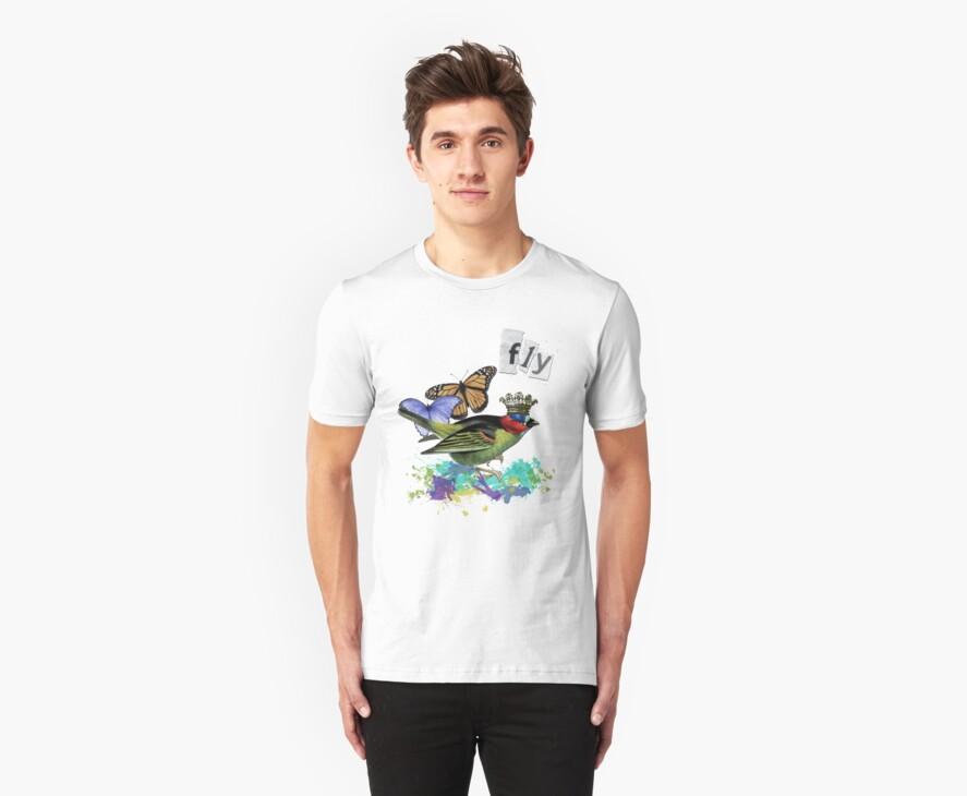 Vintage Bird Altered Art Collage Shirt by Gidget26