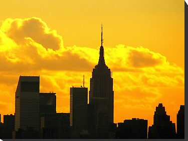 Yellow sunset silhouette, New York City  by Alberto  DeJesus