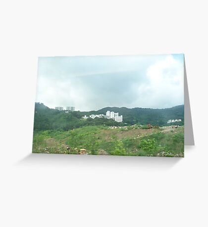 Building surrounded by mountain forest Greeting Card