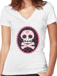 Pink Sugar Skull Vector Women's Fitted V-Neck T-Shirt