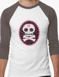 Pink Sugar Skull Vector Men's Baseball ¾ T-Shirt