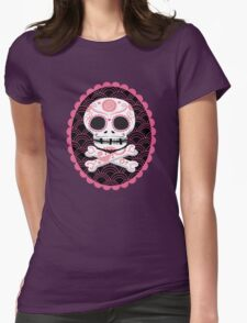 Pink Sugar Skull Vector Womens Fitted T-Shirt