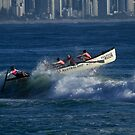 Burleigh Heads - Mowbray Park Surf Boat Crew In Action #2 by Noel Elliot