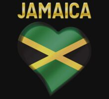 Jamaica - Jamaican Flag Heart & Text - Metallic Kids Clothes