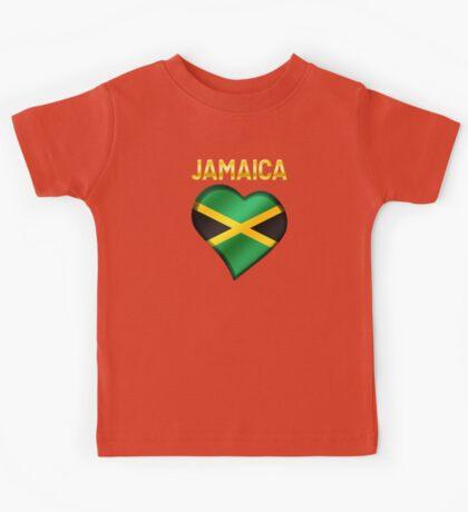Jamaica - Jamaican Flag Heart & Text - Metallic Kids Tee