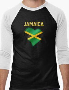 Jamaica - Jamaican Flag Heart & Text - Metallic Men's Baseball ¾ T-Shirt