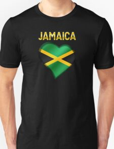 Jamaica - Jamaican Flag Heart & Text - Metallic Unisex T-Shirt