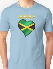 Jamaica - Jamaican Flag Heart & Text - Metallic Unisex T-Shirt