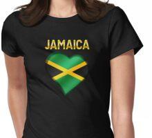 Jamaica - Jamaican Flag Heart & Text - Metallic Womens Fitted T-Shirt