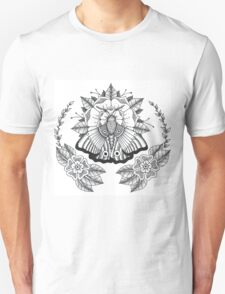 Traditional Moth Tattoo Black and White T-Shirt