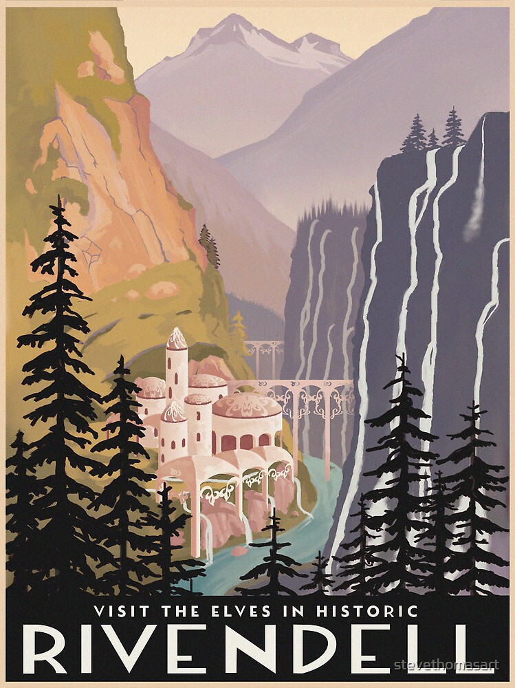 Fantasy valley travel poster by stevethomasart