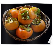 persimmons in a bowl Poster