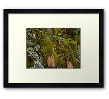 bare feet in the forest Framed Print