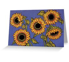 Black Centred Sunflowers Greeting Card