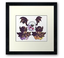 Halloween Pokemon - Pumpkaboo and Woobat Framed Print