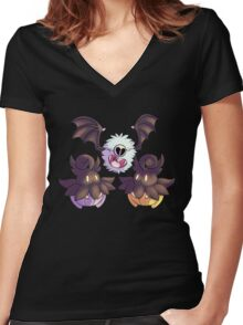 Halloween Pokemon - Pumpkaboo and Woobat Women's Fitted V-Neck T-Shirt