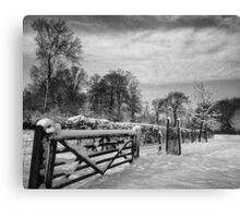 Farm gate and trees in Winter Canvas Print