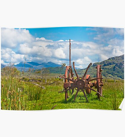 Agriculture,Farm implement, Mechanical, Hay Turner, Horse drawn, Redundant Poster