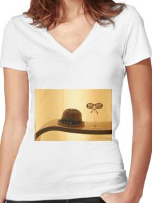 Don't Shoot Me I'm Only The Piano Player Women's Fitted V-Neck T-Shirt