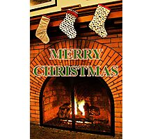 stockings hung with care     christmas card Photographic Print