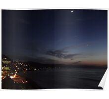 New Moon and Venus above the Bay of Banderas - Luna nueva y Venus arriba de la Bahia de Banderas Poster
