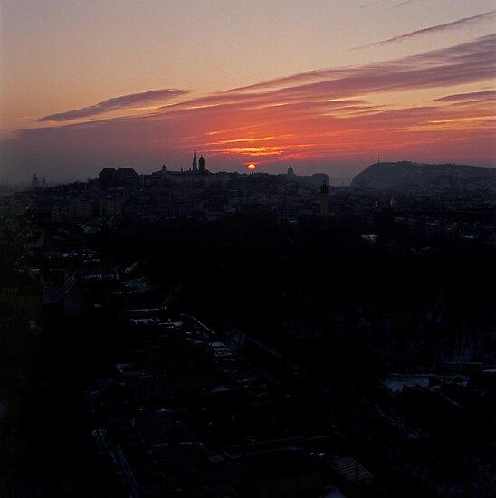 Wintery Budapest Sunrise by Rodney Johnson