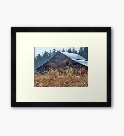 Winter Barn Framed Print