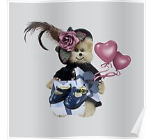 CUTE TEDDY BEAR IS SHOWING OFF HIS BIRTHDAY PRESENT-JOURNAL-PILLOW-TOTE BAG-PICTURE-SCARF-ECT.. Poster