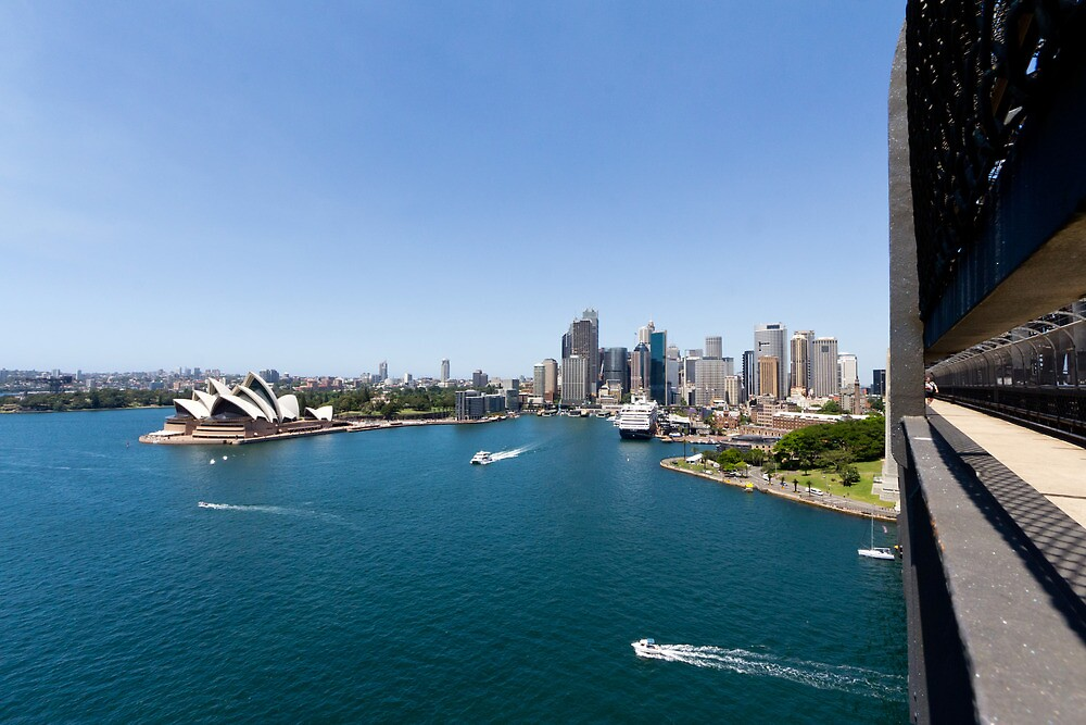 Sydney Harbour & Opera House From Sydney Harbour Bridge by Russell Charters