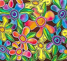 Funky Flowers by Lisa Frances Judd~QuirkyHappyArt