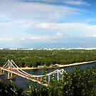 Kiev Ukraine View of the pedestrian bridge and left bank by Yuriy Shevchuk