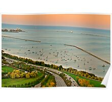Lake Michigan from above Poster