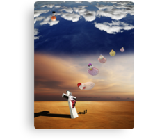 Curious Angels & the crucifixion of Madonna. Canvas Print