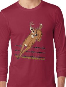 Deer Leaping Barb Wire Fence Long Sleeve T-Shirt